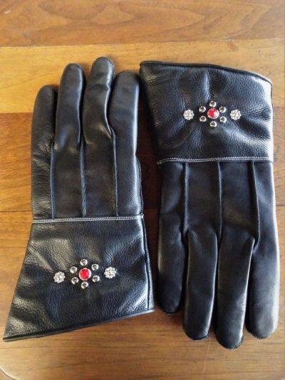 画像1: Studs gauntlet gloves Nine Berry