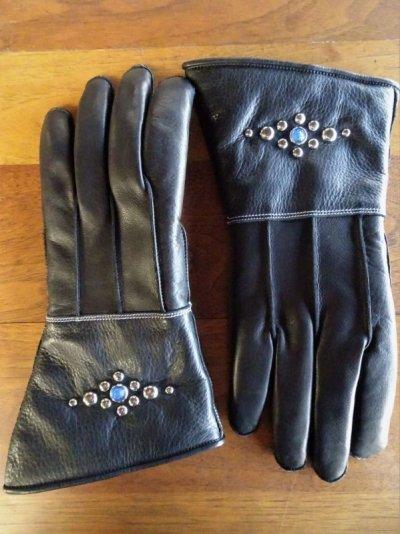 画像1: Studs gauntlet gloves Round